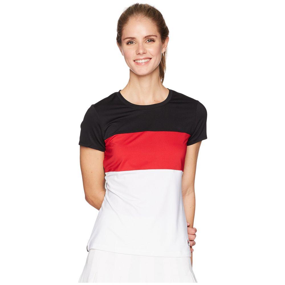 フィラ Fila レディース テニス トップス【Heritage Tennis Cap Sleeve Top】Black/White/Crimson