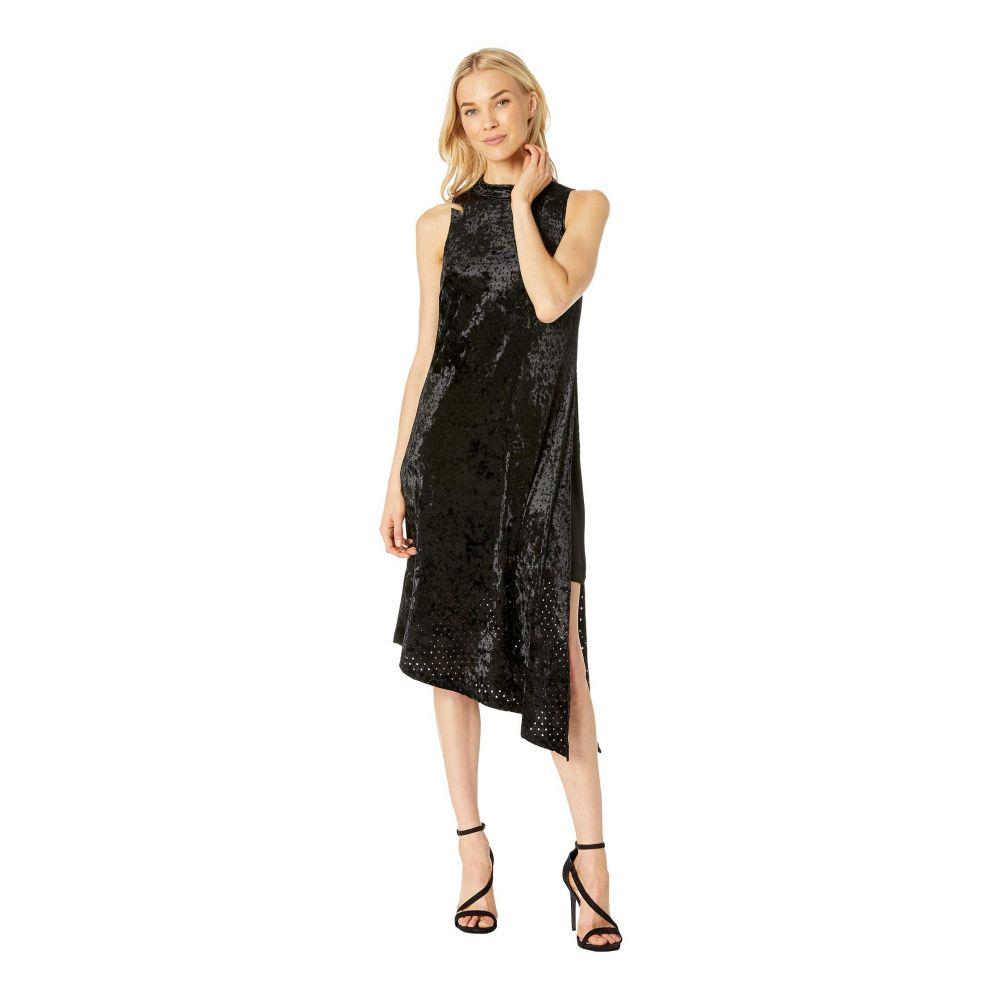 アドリアナ パペル Adrianna Papell レディース ワンピース・ドレス ワンピース【Perforated Velvet Mock Neck Asymmetrical Dress】Black