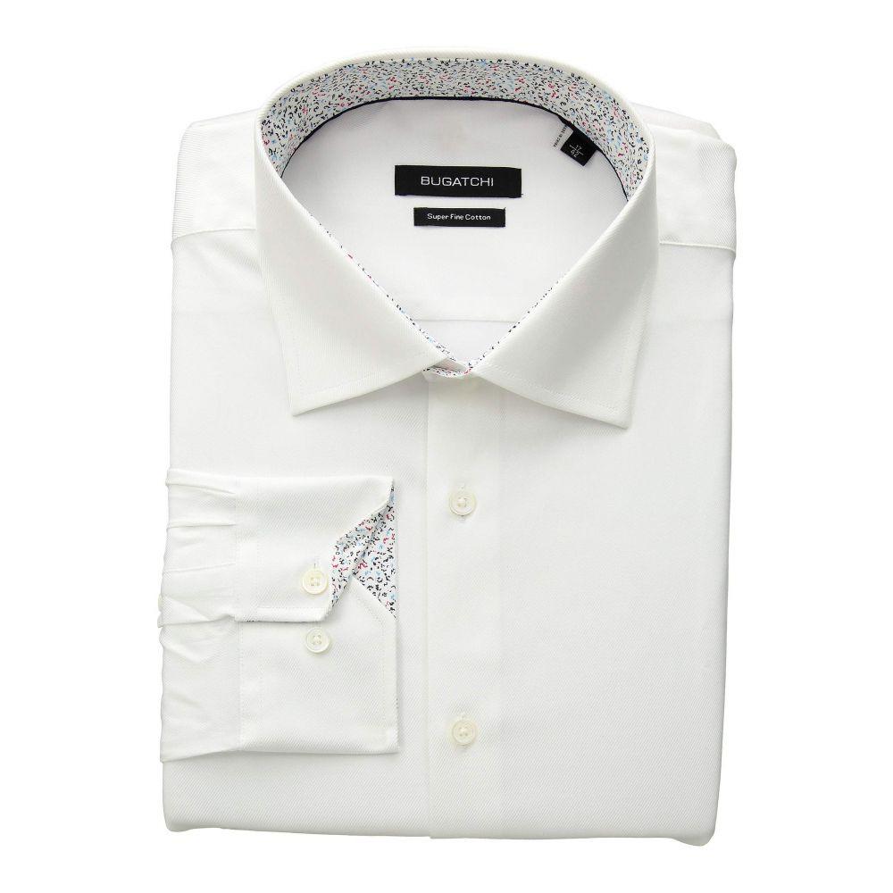 ブガッチ BUGATCHI メンズ トップス シャツ【Shaped Fit Long Sleeve Woven Shirt】White