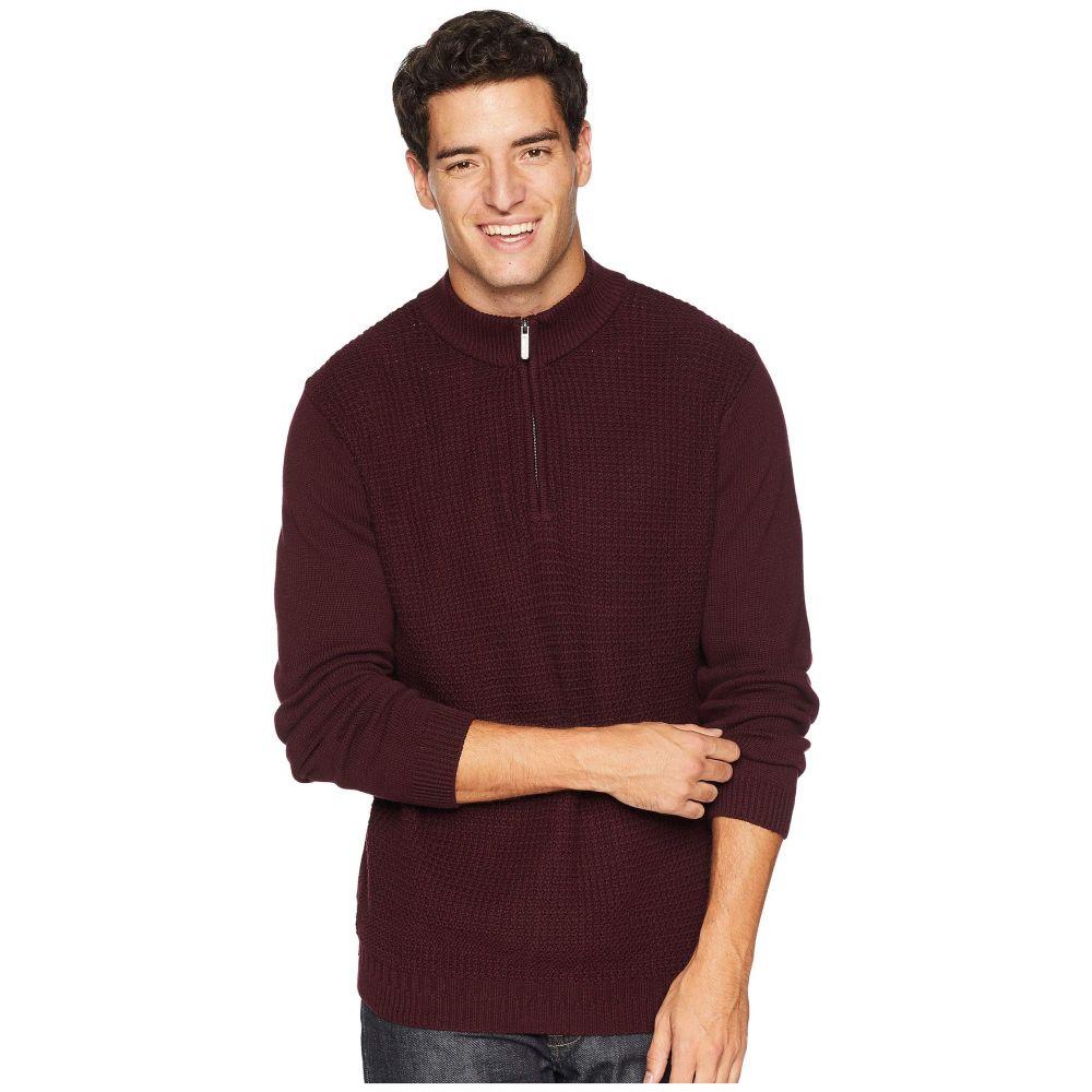 ベンシャーマン Ben Sherman メンズ トップス ニット・セーター【1/4 Zip Funnel Neck Sweater】Dark Red