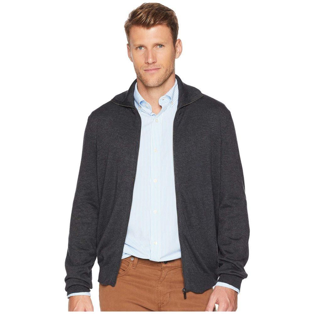 ペリー エリス Perry Ellis メンズ トップス カーディガン【Jersey Knit Zip Front Cardigan Sweater】Charcoal Heather