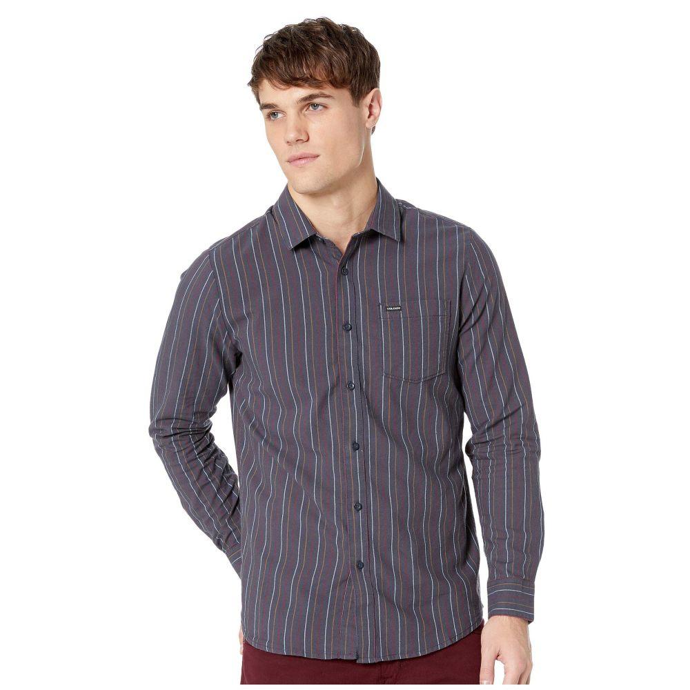 ボルコム Volcom メンズ トップス シャツ【Toner Stripe Long Sleeve】Midnight Blue