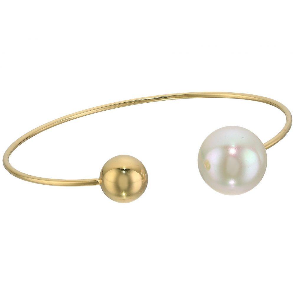 マジョリカ Majorica レディース ジュエリー・アクセサリー ブレスレット【14mm Pearl & Bead Plated Bangle Bracelet】White
