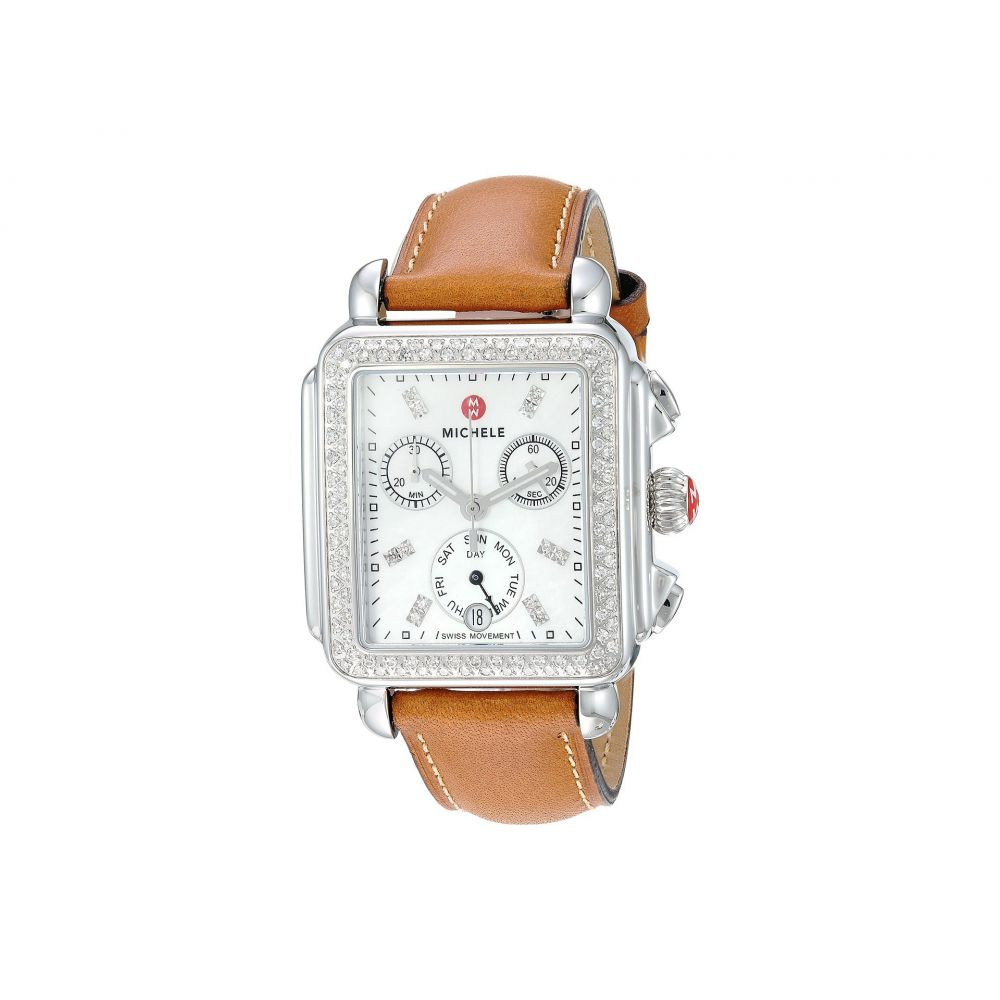 ミッシェル Michele レディース 腕時計【Deco Diamond, Diamond Dial Saddle Strap Watch】Saddle/Silver