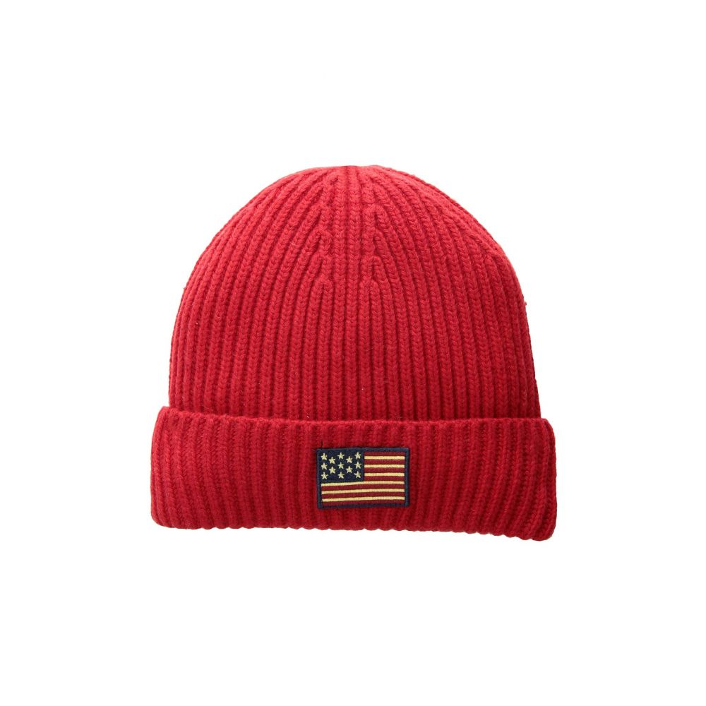 【有名人芸能人】 ラルフ Ralph ローレン Polo Ralph Lauren メンズ 帽子 Red ニット【American Hat】RL Flag Cuff Hat】RL Red, お庭の玉手箱:ad476f1c --- adesigndeinteriores.com.br