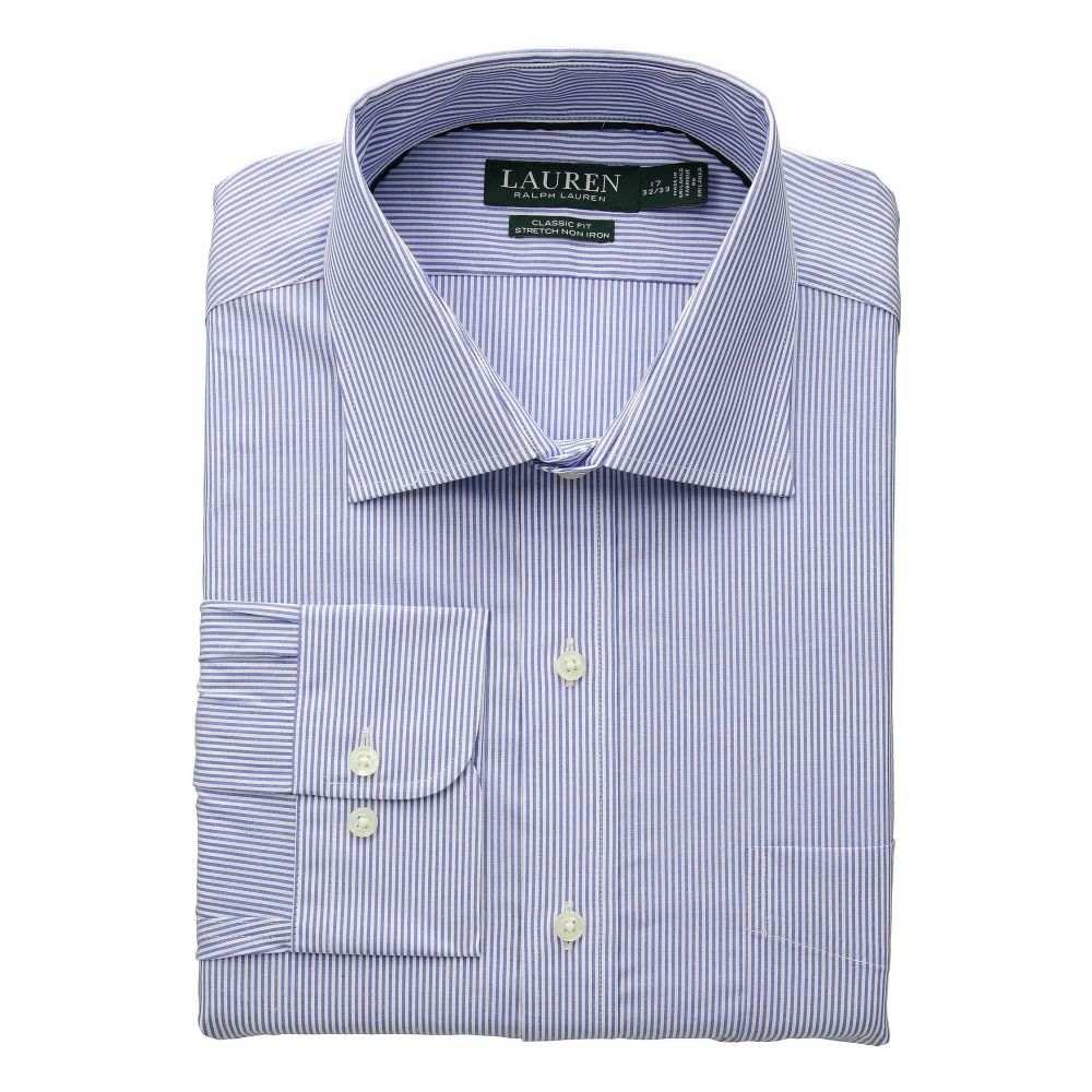 ラルフ ローレン LAUREN Ralph Lauren メンズ トップス シャツ【Non-Iron Classic Fit Stretch Poplin Dress Shirt】Blue/White Stripe