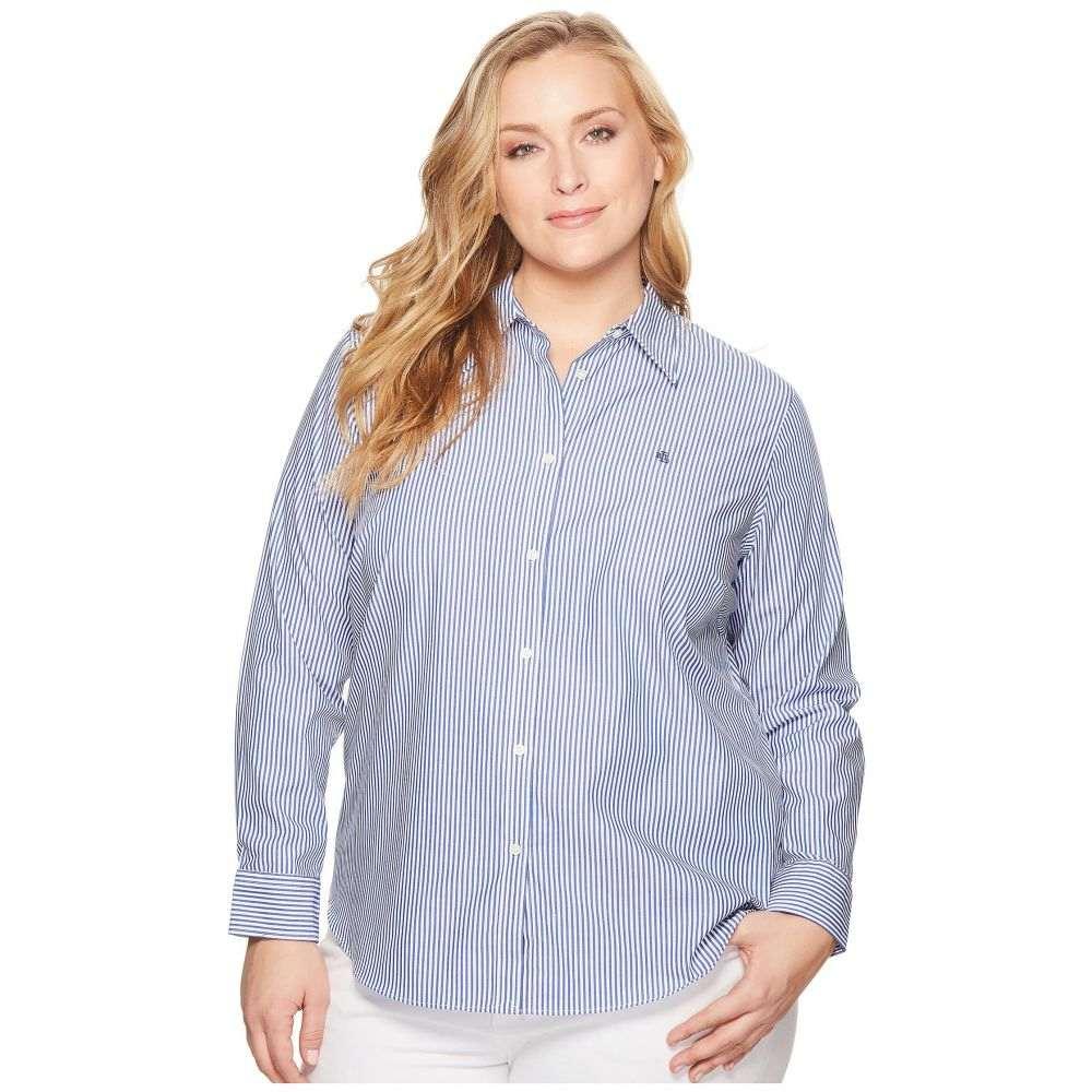 ラルフ ローレン LAUREN Ralph Lauren レディース トップス ブラウス・シャツ【Plus Size Striped Cotton Shirt】Blue/White