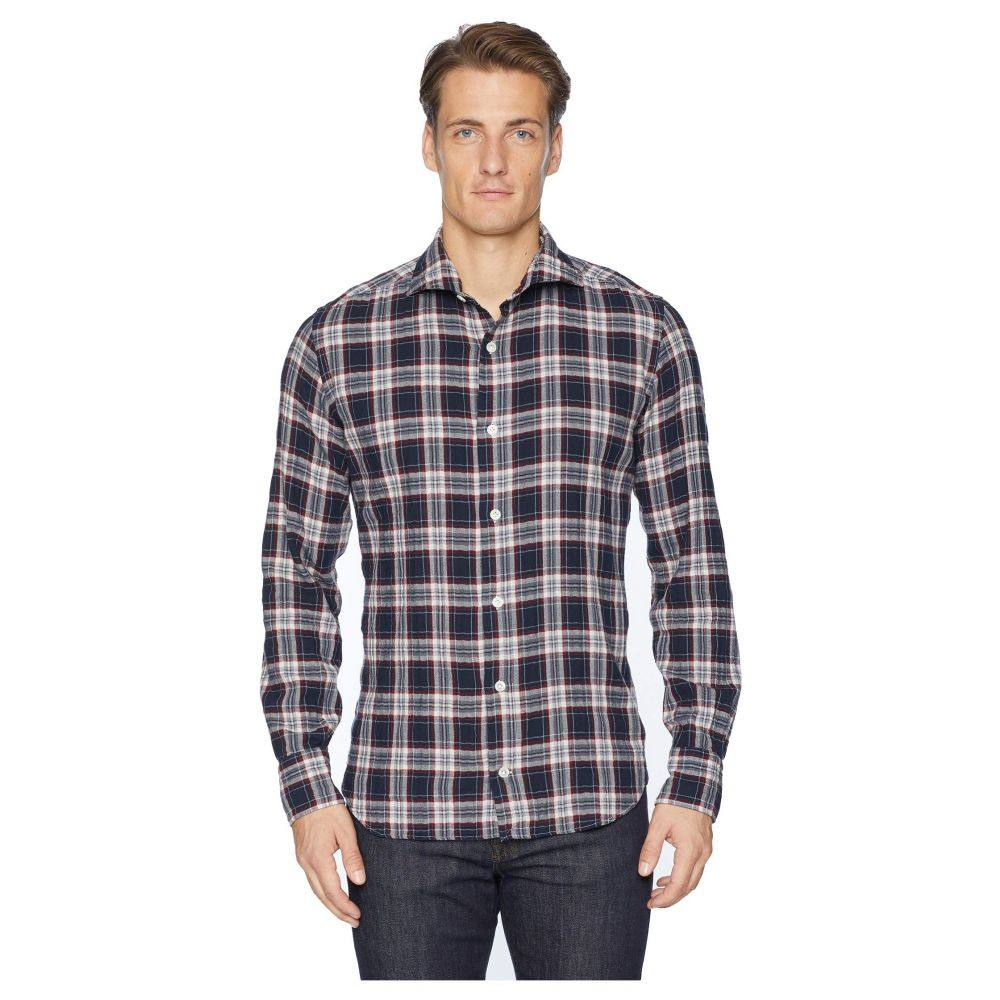 イレブンティ eleventy メンズ トップス シャツ【Check Spread Collar Brushed Flannel Shirt】Navy