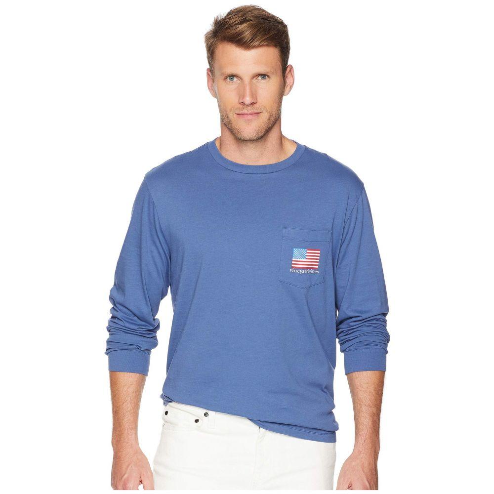 ヴィニヤードヴァインズ Vineyard Vines メンズ トップス 長袖Tシャツ【Long Sleeve American Flag Pocket Tee】Moonshine