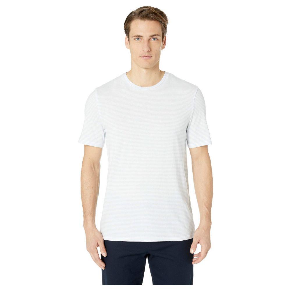 ヴィンス Vince メンズ トップス【Feeder Stripe Short Sleeve Crew】White/Light Blue