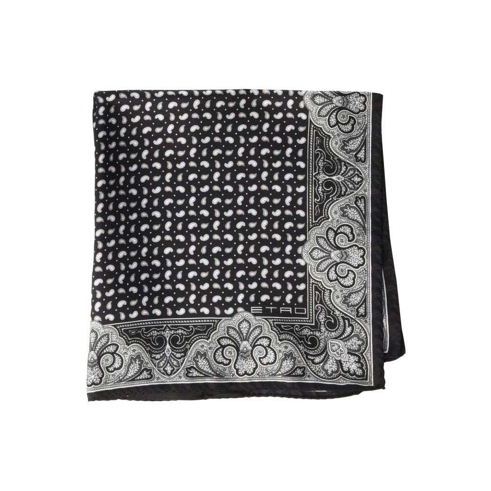 エトロ Etro メンズ ハンカチ・チーフ【Paisley Border Pocket Square】Black/White