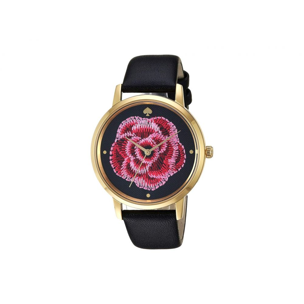 ケイト スペード Kate Spade New York レディース 腕時計【Metro Embroidered Flower - KSW1459】Black