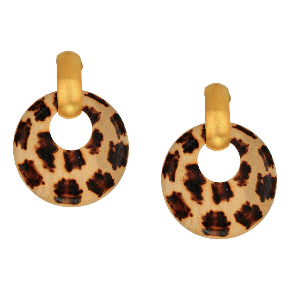 ケネスジェイレーン Kenneth Jay Lane レディース ジュエリー・アクセサリー イヤリング・ピアス【Giraffe Pattern Wood Hoop Doorknocker with Satin Gold Clutchless Post Top Earrings】Sating Gold/Burnt Wood