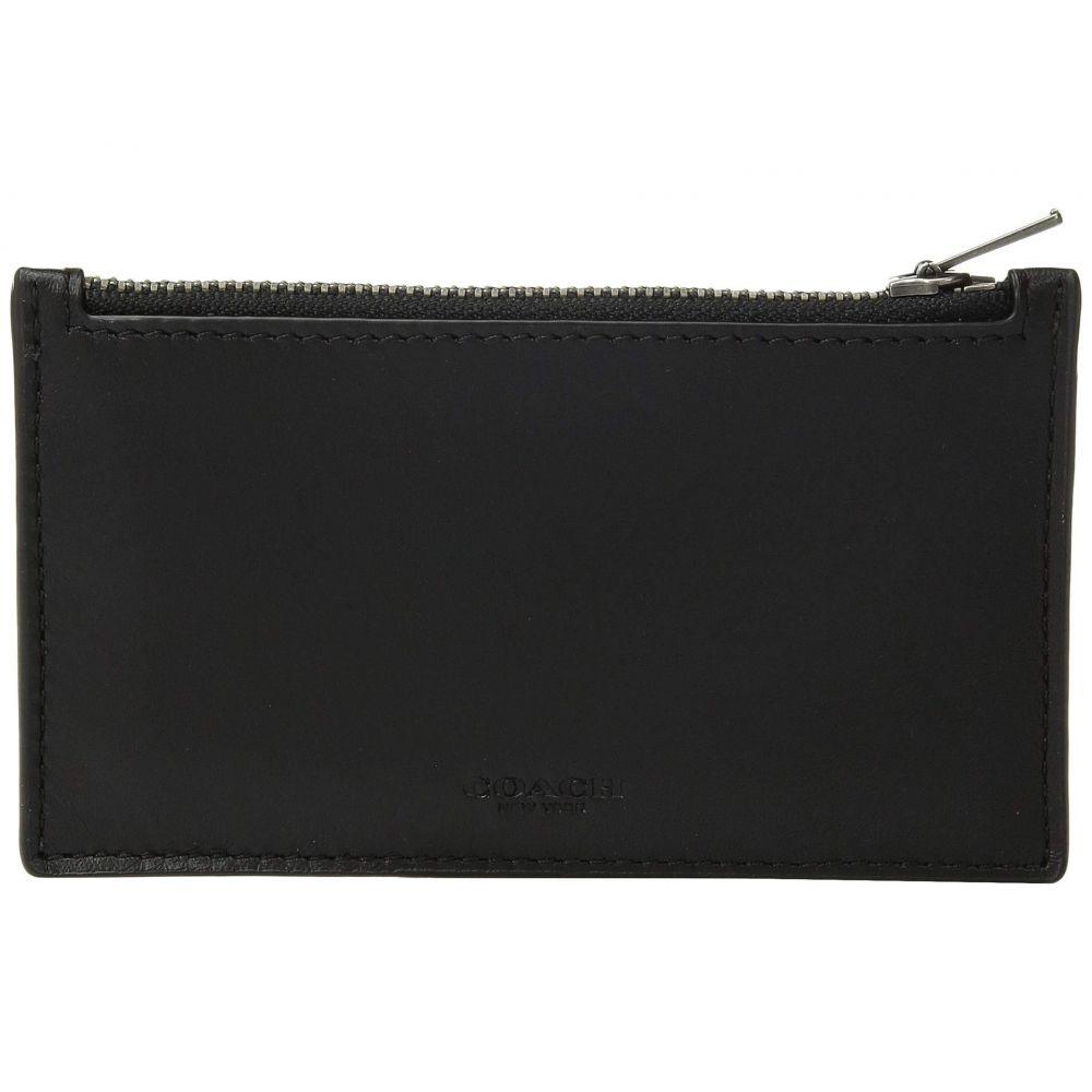 コーチ COACH メンズ カードケース・名刺入れ【Zip Card Case in Refined Calf】Black