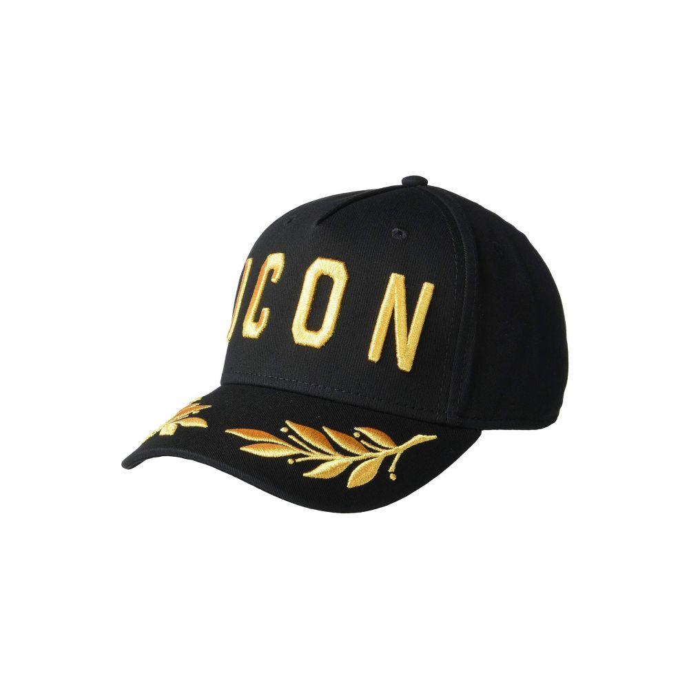 ディースクエアード DSQUARED2 メンズ 帽子 キャップ【Icon Gold Baseball Cap】Black/Gold