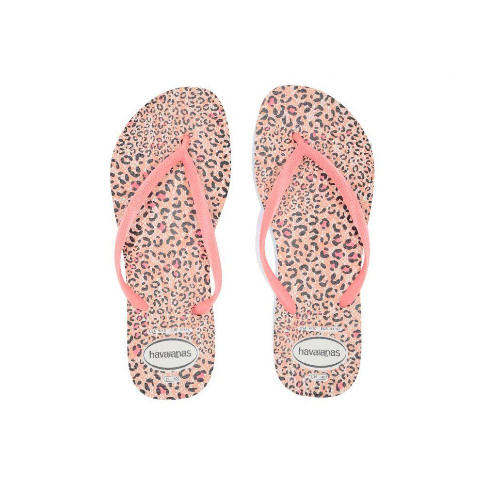 ハワイアナス Havaianas レディース シューズ・靴 ビーチサンダル【Slim Animals Flip Flops】White/Coral New