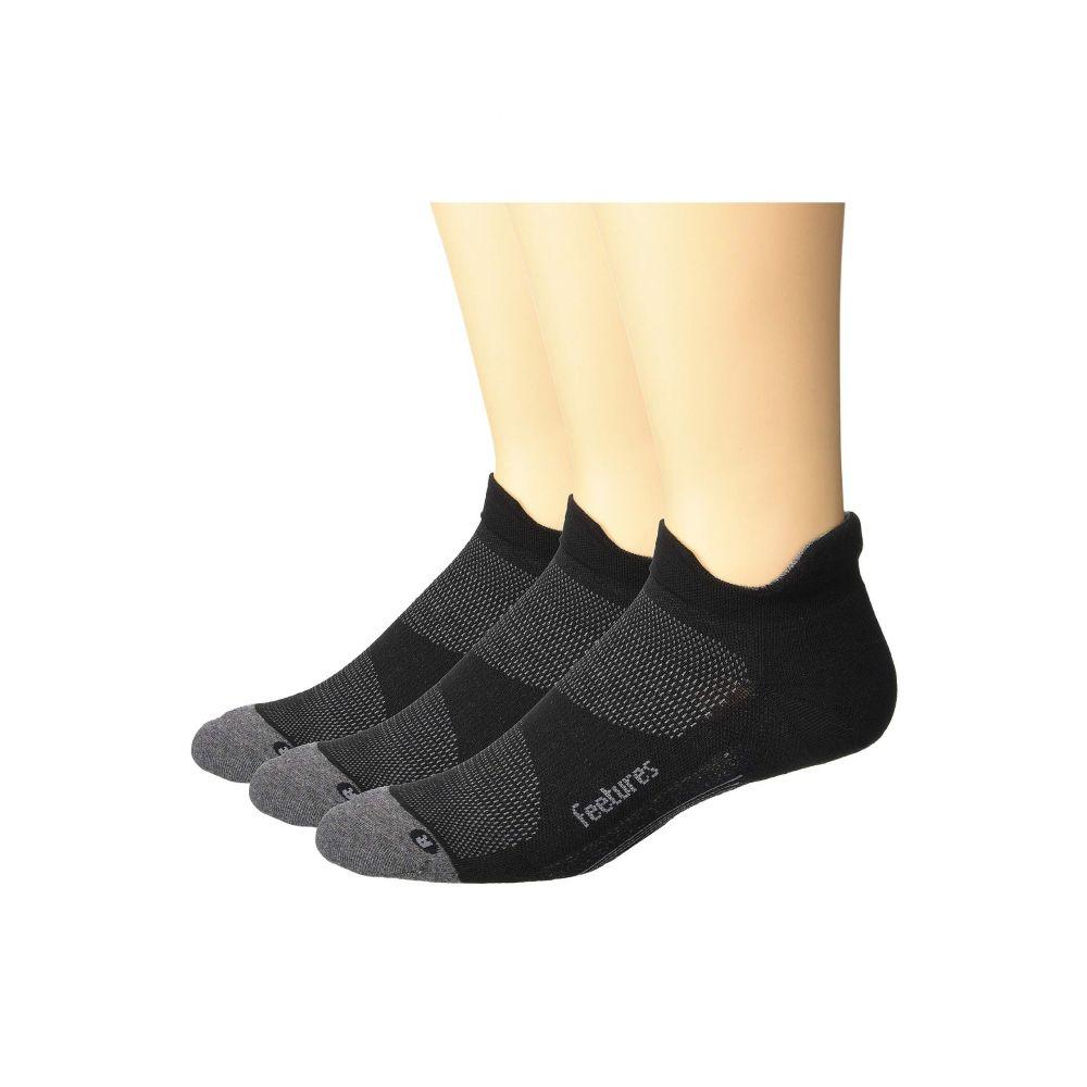 グランドセール フィーチャーズ Feetures レディース インナー・下着 ソックス【Elite Max Cushion No Show Tab 3-Pair Pack】Black, 中山人形店 e5069a13