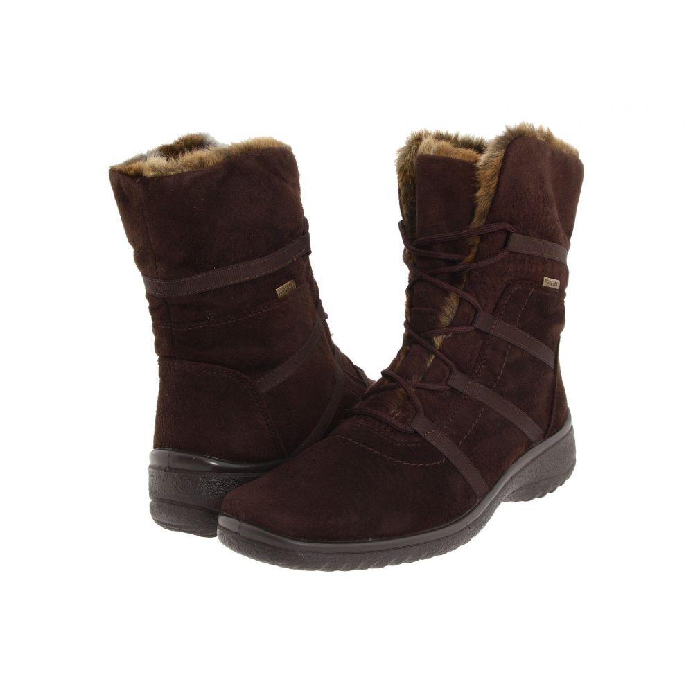 アラ ara レディース シューズ・靴 ブーツ【Magaly GORE-TEX】Brown Synthetic Suede w/ Beige Fur Trim