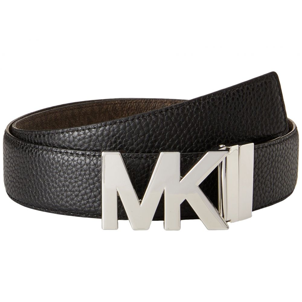 マイケル コース MICHAEL Michael Kors レディース ベルト【38mm Reversible Pebble to Logo Belt on MK Plaque Buckle】Black/Chocolate