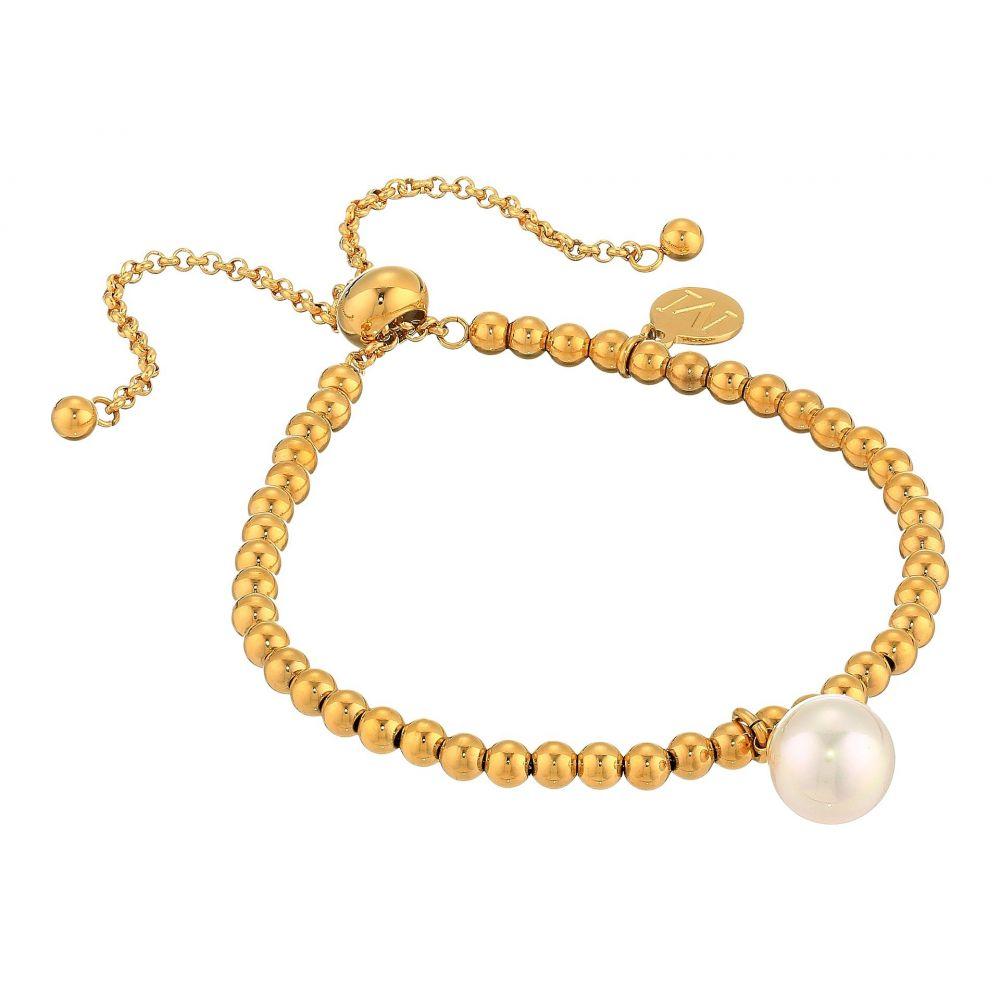 マジョリカ Majorica レディース ジュエリー・アクセサリー ブレスレット【10mm Round Pearl on Gold Plated Steel Beaded Bracelet 6.5-11】White