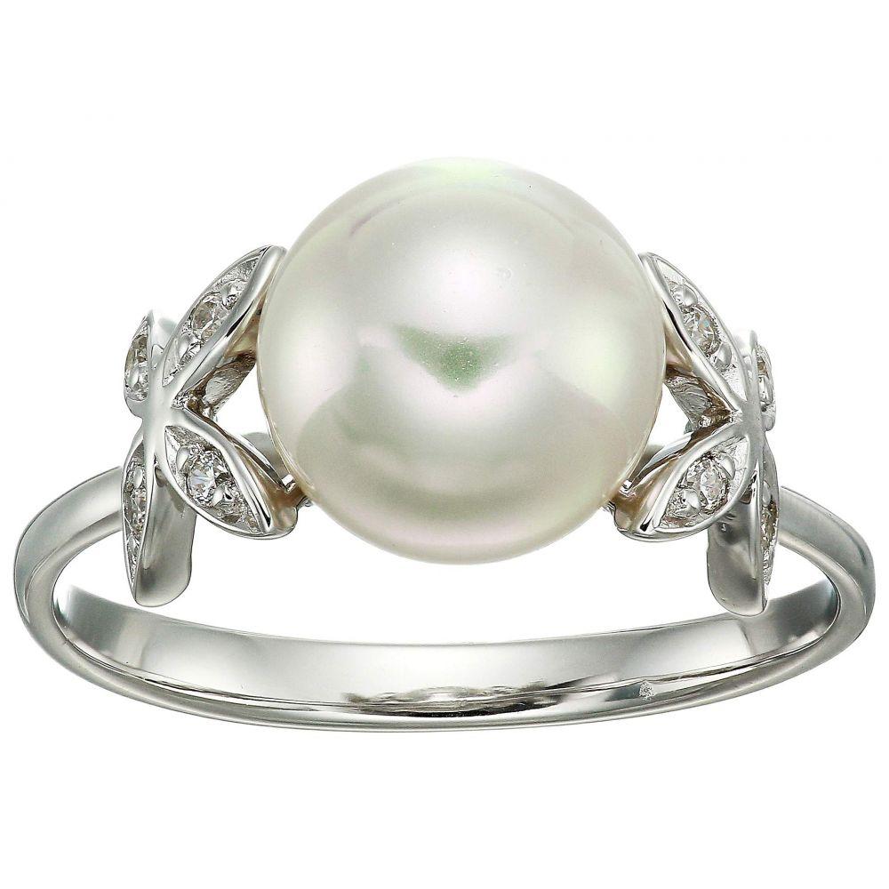 マジョリカ Majorica レディース ジュエリー・アクセサリー 指輪・リング【Eternity Rings 4 mm White Pearls Ring w/ Butterfly CZ Sterling Silver Ring】White