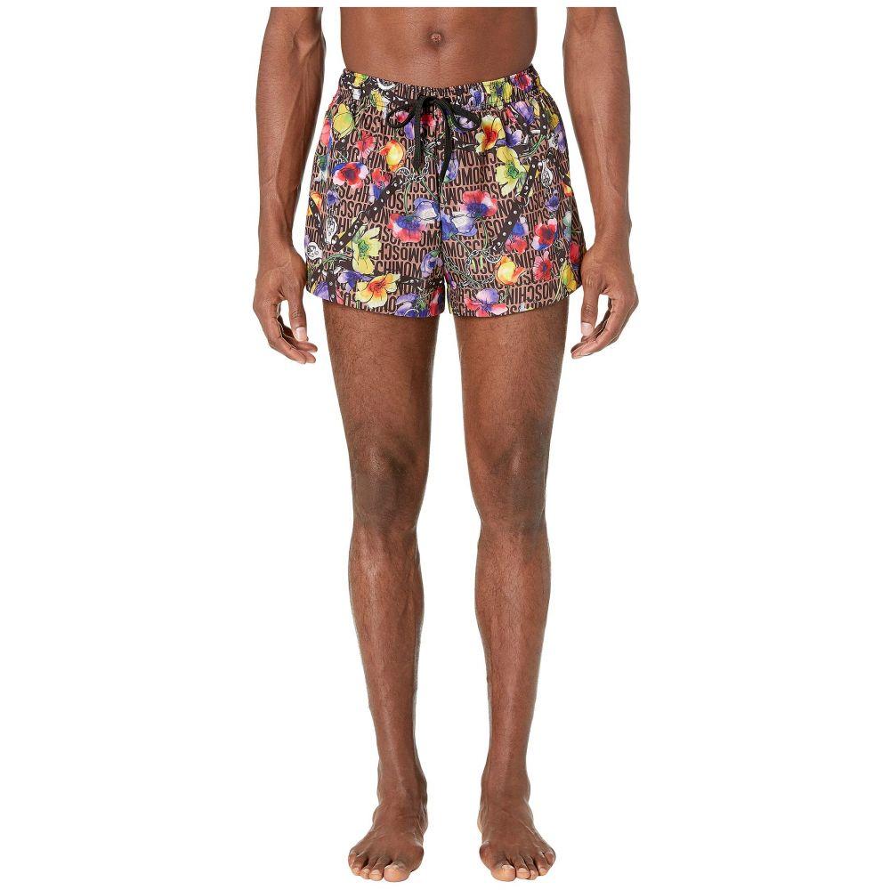 モスキーノ Moschino メンズ 水着・ビーチウェア 海パン【Flowers and Harness Swim Shorts】Brown Multi