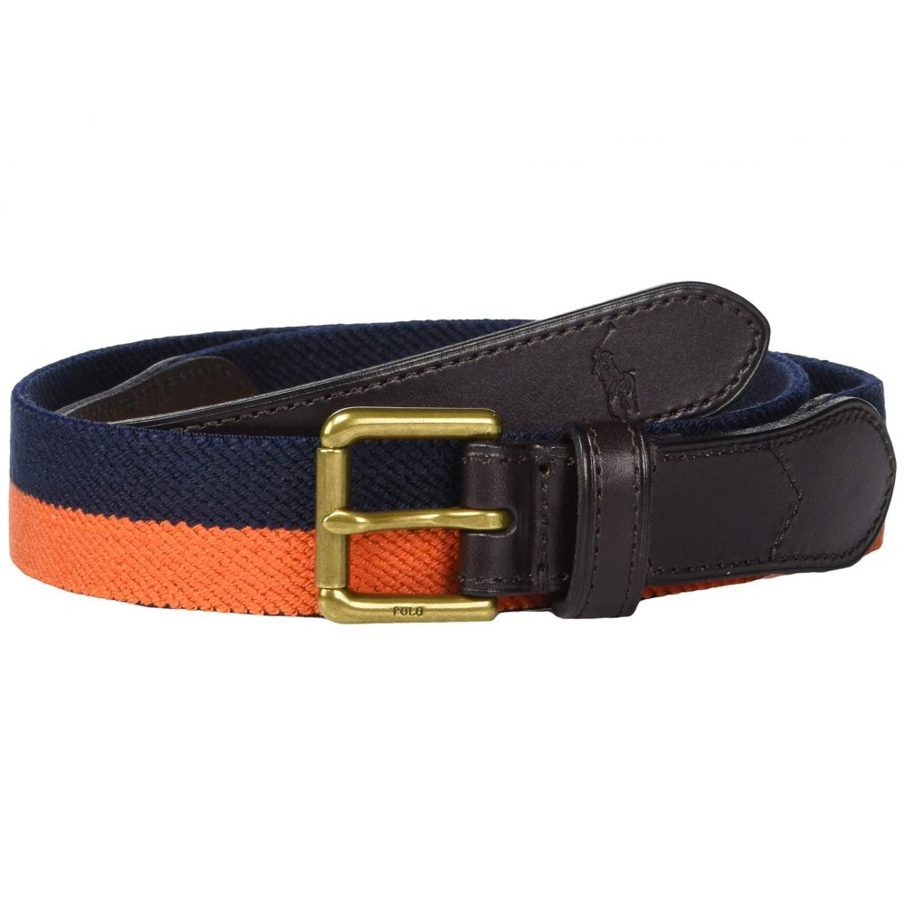 ラルフ ローレン Polo Ralph Lauren メンズ ベルト【34mm Braid Fabric Stretch Belt】Navy/Orange