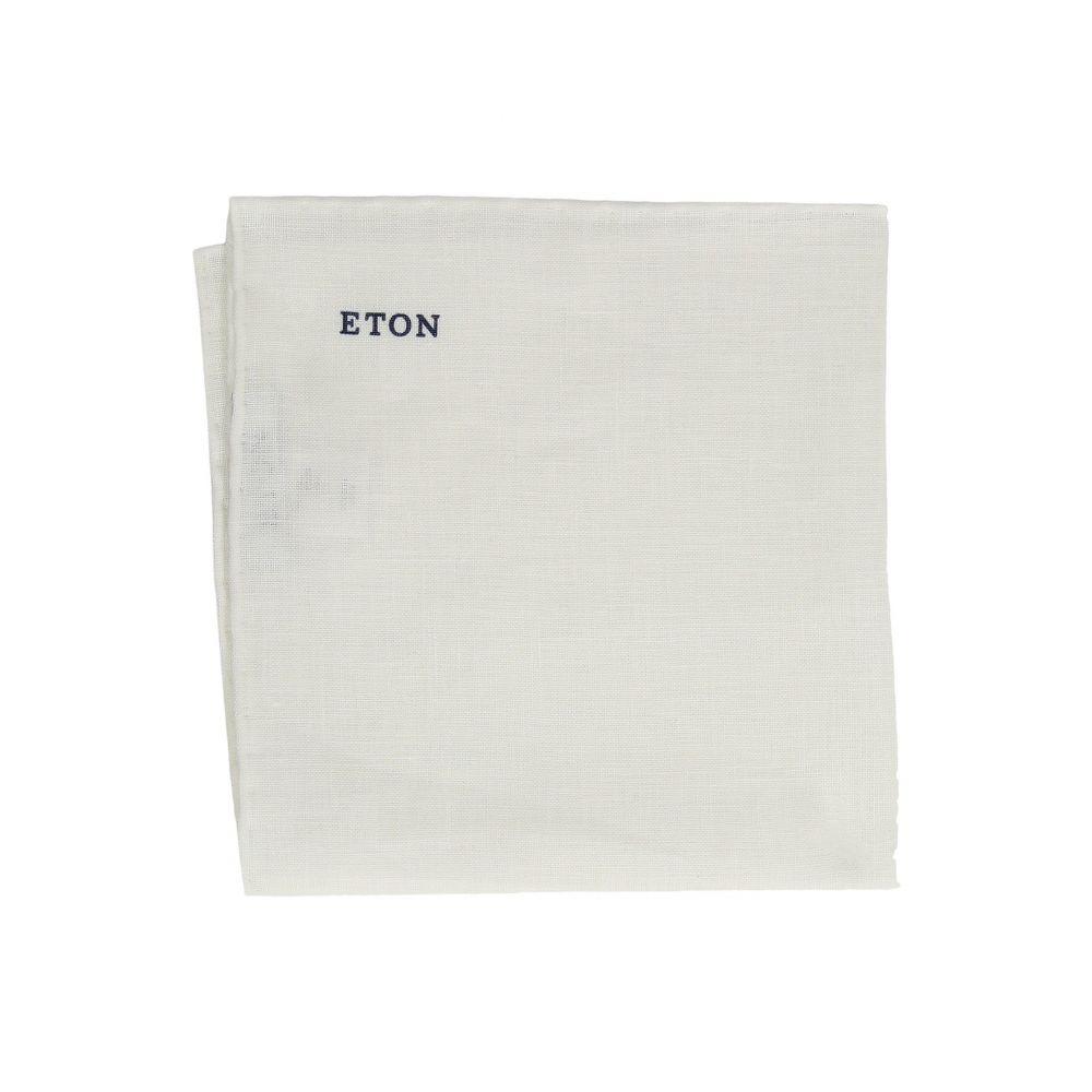 イートン Eton メンズ ハンカチ・チーフ【Linen Pocket Square】White