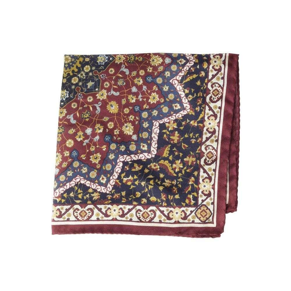 イートン Eton メンズ ハンカチ・チーフ【Persain Carpet Print Pocket Square】Burgundy