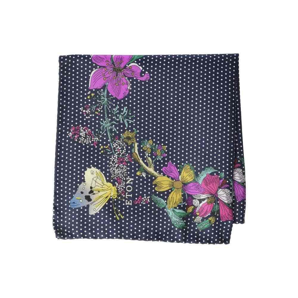 イートン Eton メンズ ハンカチ・チーフ【Floral Dot Pocket Square】Navy