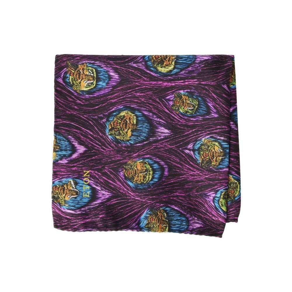 イートン Eton メンズ ハンカチ・チーフ【Feather Print Pocket Square】Purple