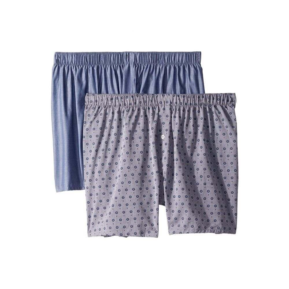 ハンロ Hanro メンズ インナー・下着 ボクサーパンツ【Fancy Woven Boxer 2-Pack】Blue Minimal/Blue