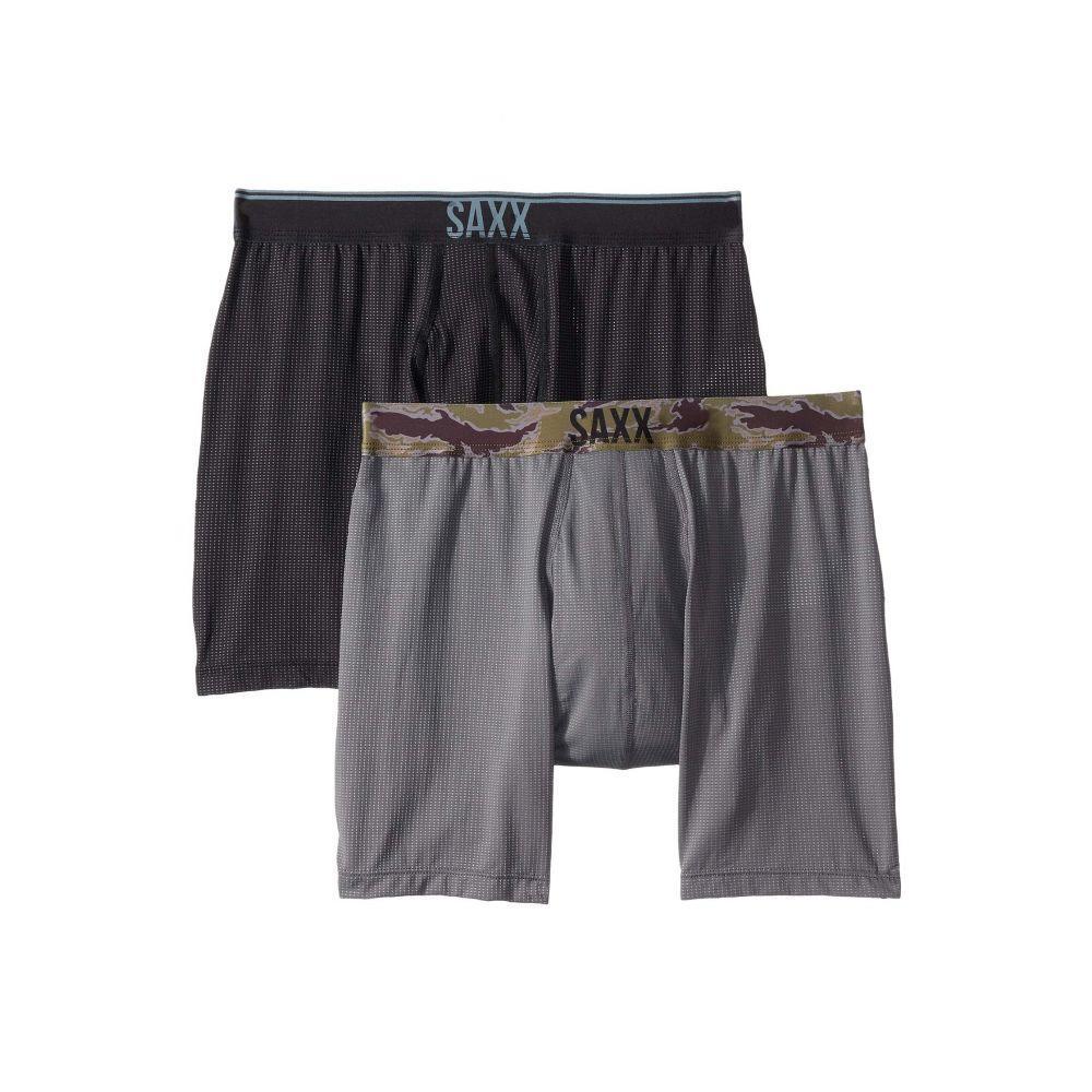 サックス SAXX UNDERWEAR メンズ インナー・下着 ボクサーパンツ【Quest Boxer Brief Fly 2-Pack】Black/Dark Charcoal