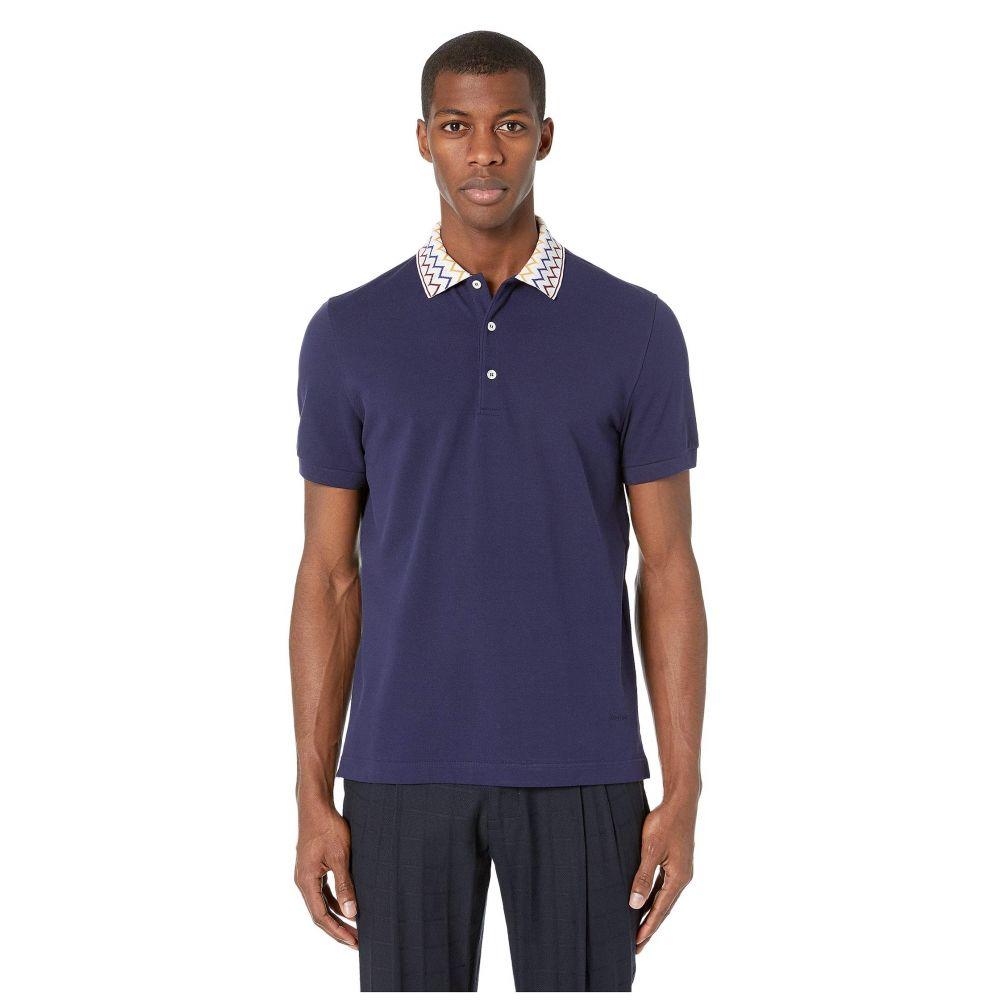 ミッソーニ Missoni メンズ トップス ポロシャツ【Cotton Polo with Zigzag Collar】Navy