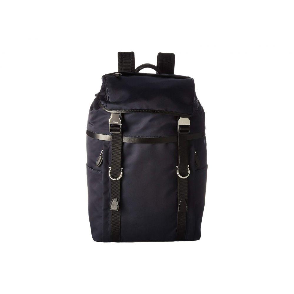 サルヴァトーレ フェラガモ Salvatore Ferragamo メンズ バッグ バックパック・リュック【The Gancini Nylon Backpack - 24A068】Navy/Black