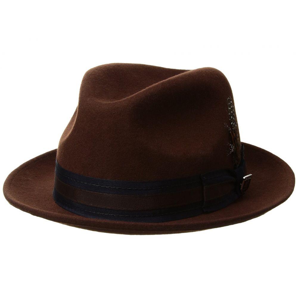 ステイシー アダムス Stacy Adams メンズ 帽子 ハット【Pinch Front Wool Fedora】Brown