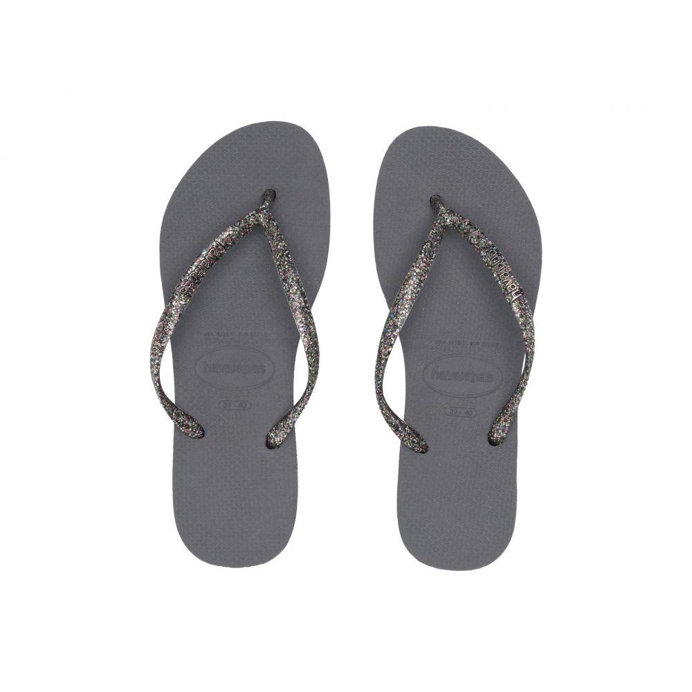 ハワイアナス Havaianas レディース シューズ・靴 ビーチサンダル【Slim Logo Metallic Flip Flops】Steel Grey/Graphite