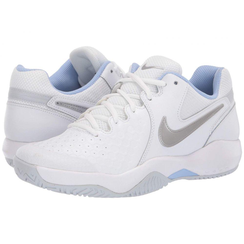 ナイキ Nike レディース テニス シューズ・靴【Air Zoom Resistance】White/Metallic Silver/Pure Platinum