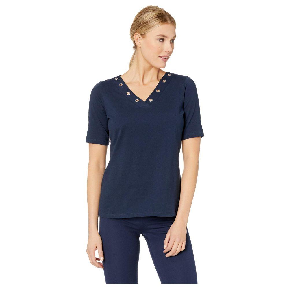 エフディジェイフレンチ FDJ French Dressing Jeans レディース トップス【Solid Jersey V-Neck Top with Eyelet Detail】Navy