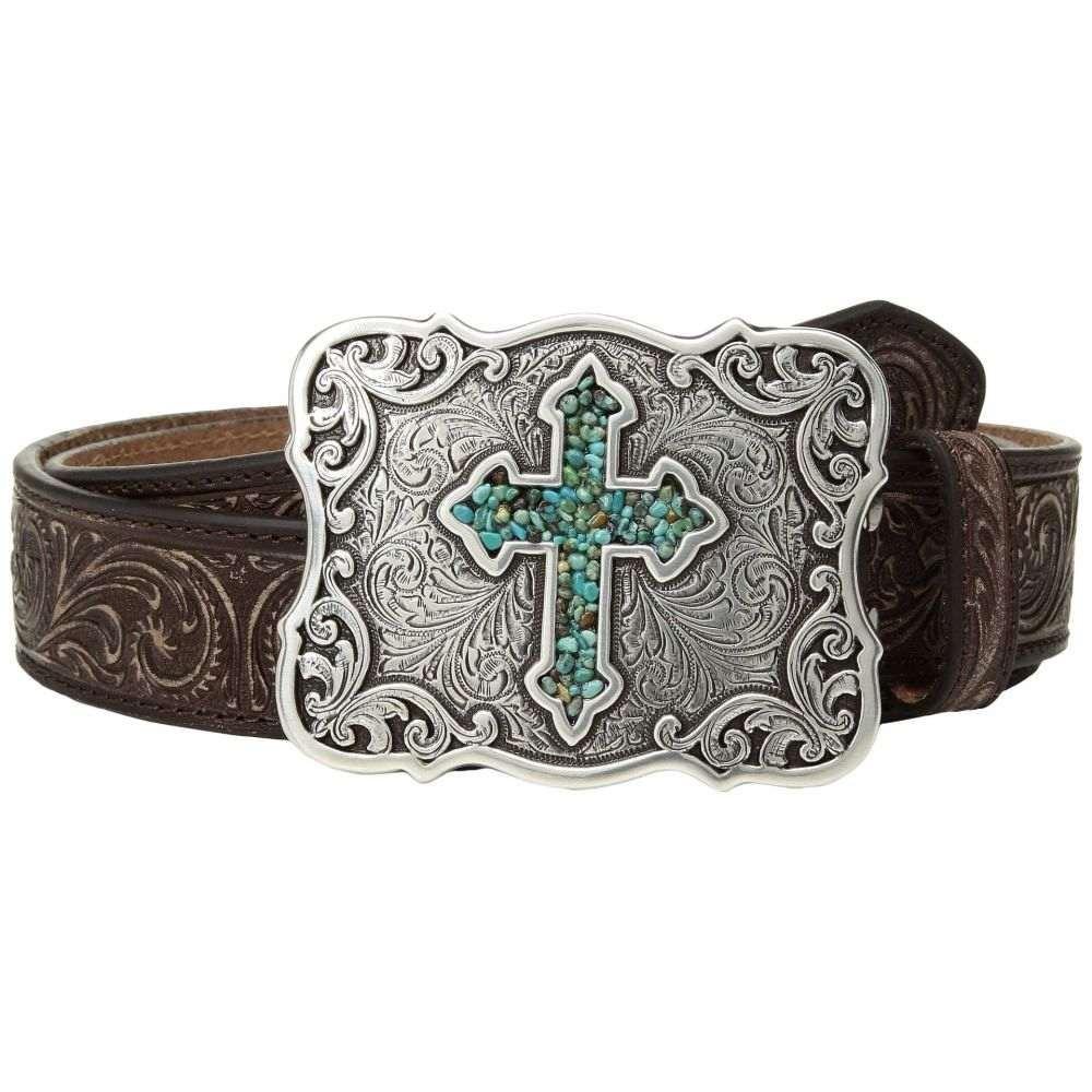 エムアンドエフ ウエスタン M&F Western レディース ベルト【Scroll Pierced Turquoise Cross Belt】Brown