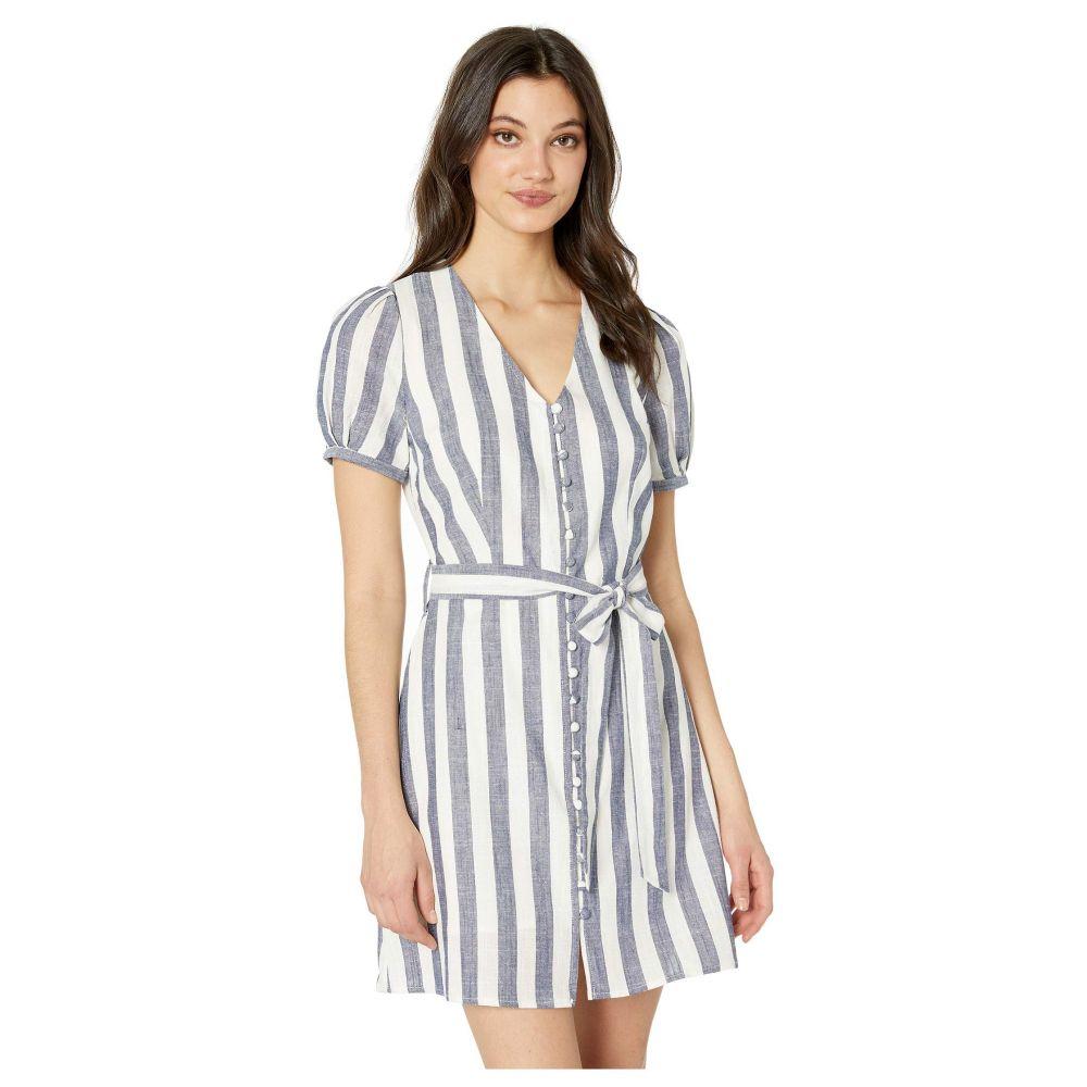 ジェー オー エー J.O.A. レディース ワンピース・ドレス ワンピース【Buttoned Down Striped A-Line Dress】Navy/White
