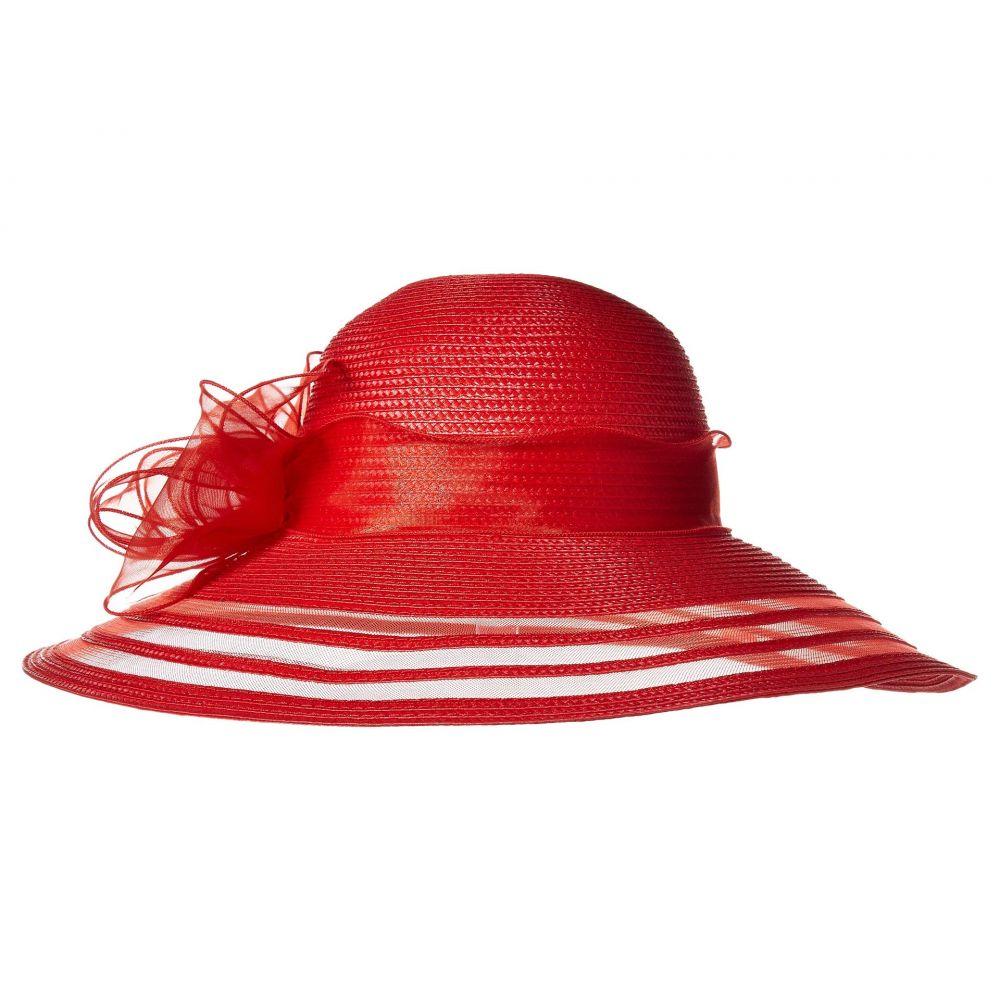 サンディエゴハット San Diego Hat Company レディース 帽子【DRS1011 Derby Dress Hat with Organza Bow】Red