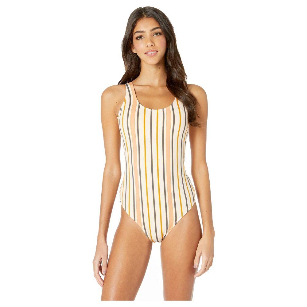 ロキシー Roxy レディース 水着・ビーチウェア ワンピース【Print Beach Moderate Basic One-Piece Swimsuit】Cream/Tan Macy Stripe