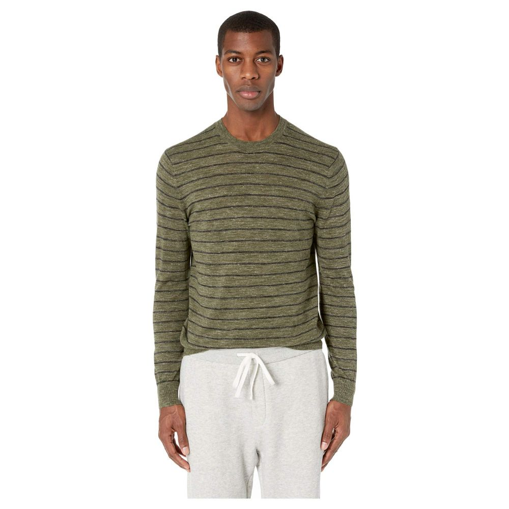 ヴィンス Vince メンズ トップス【Striped Crew Long Sleeve】Army Green/Black