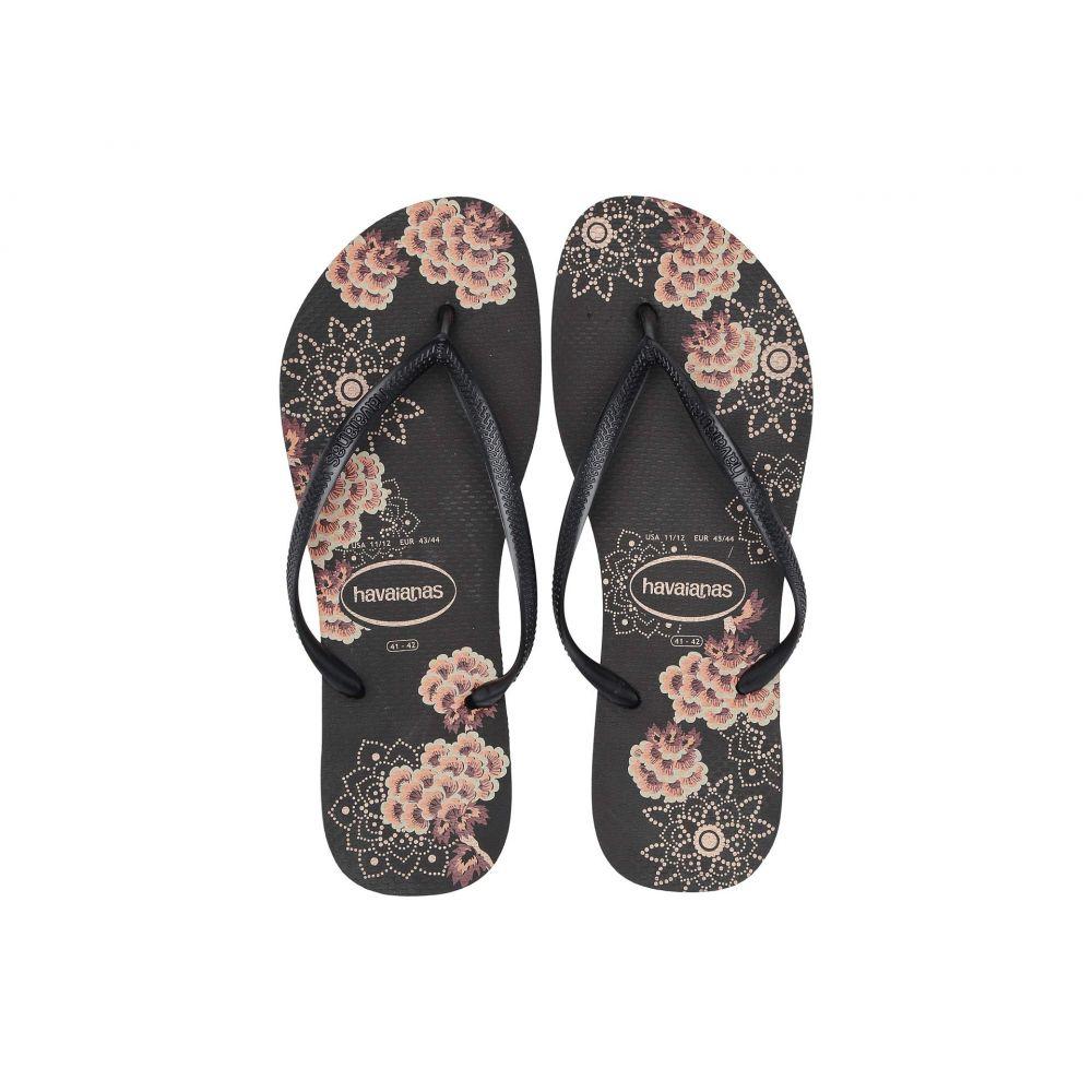 ハワイアナス Havaianas レディース シューズ・靴 ビーチサンダル【Slim Organic Flip Flops】Black/Dark Grey Metallic