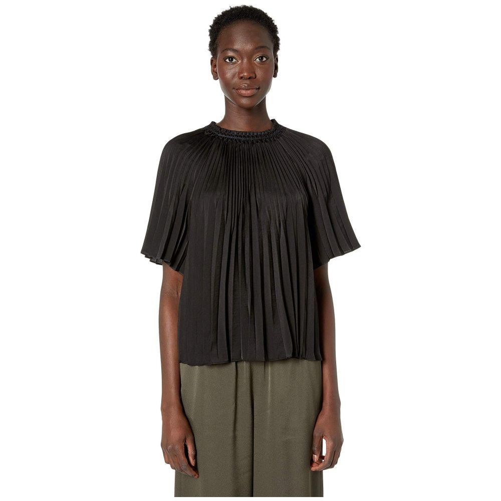 ヴィンス Vince レディース トップス ブラウス・シャツ【Smocked Short Sleeve Blouse】Black
