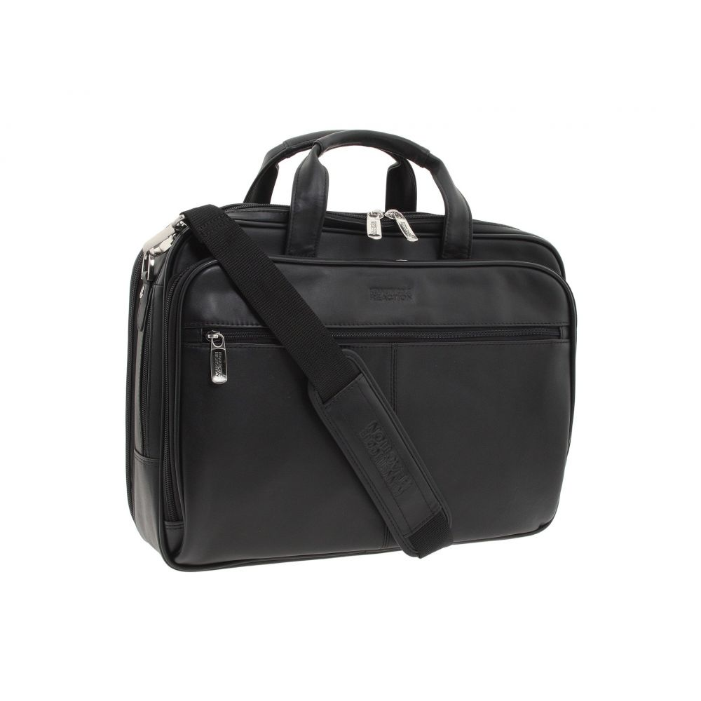 ケネス コール Kenneth Cole Reaction レディース バッグ パソコンバッグ【I Rest My Case' - 4 1/2' Double Gusset Top Zip Portfolio Computer Case】Black Nappa Lea