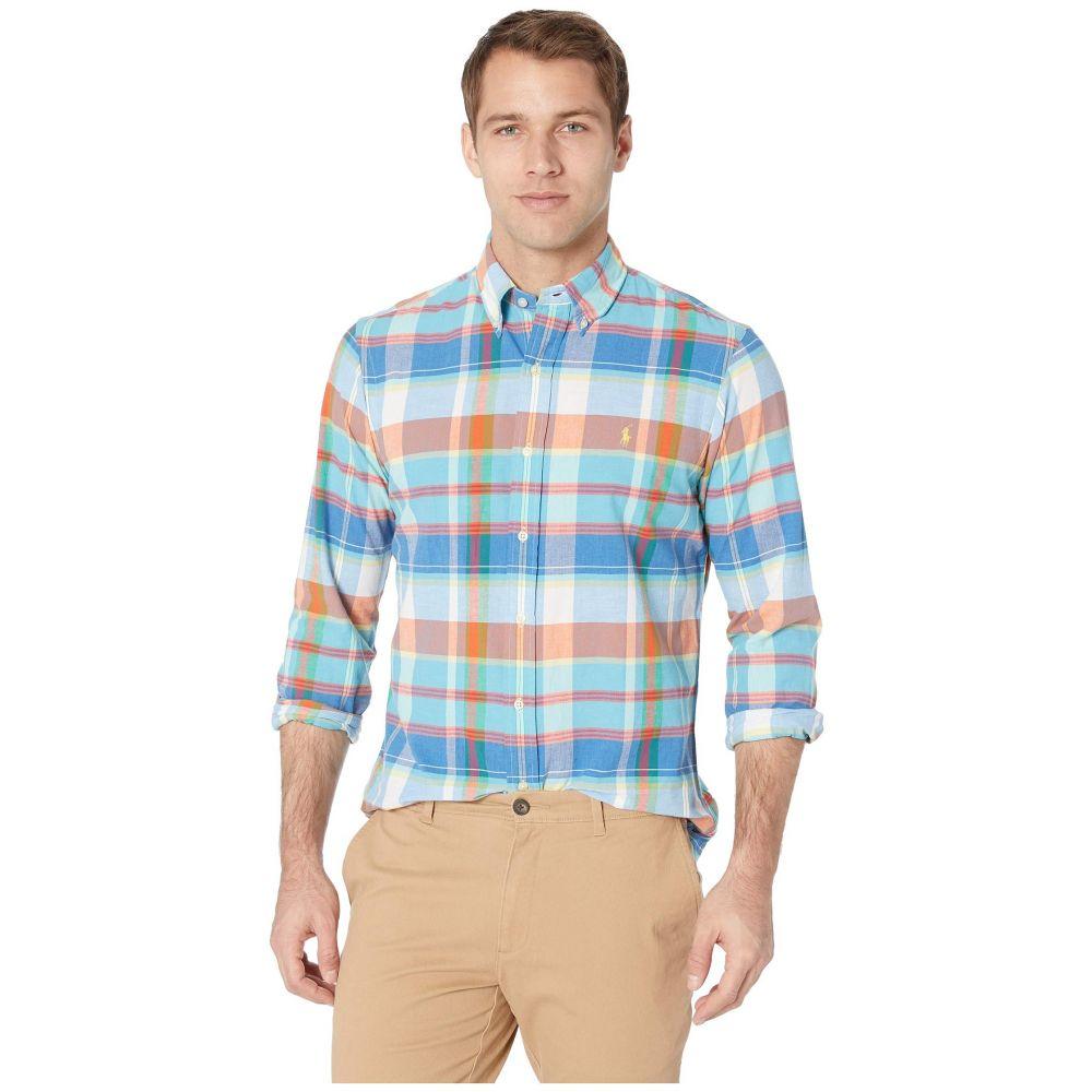 ラルフ ローレン Polo Ralph Lauren メンズ トップス シャツ【Long Sleeve Classic Fit Madras】Tangerine/Navy Multi