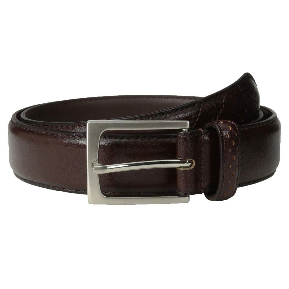 フローシャイム Florsheim メンズ ベルト【Full Grain Leather Belt with Wing Tip Style Tail 32mm】Brown