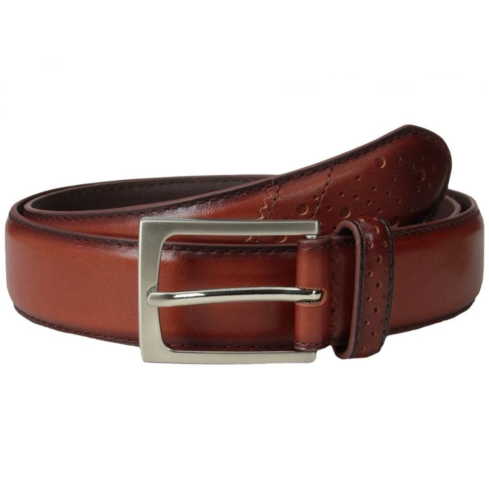 フローシャイム Florsheim メンズ ベルト【Full Grain Leather Belt with Wing Tip Style Tail 32mm】Saddle Tan